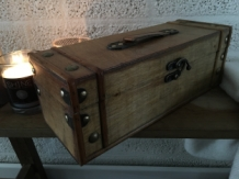 1 wijnkist, Treasure Chest, langwerpige, houten